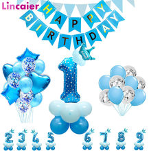 Blue Silver Latex Foil Star Heart Balloons Happy Birthday Party Decorations Kids Helium Ballon 1st Baby Boy Supplies 1 2 3 4 5 6(China)