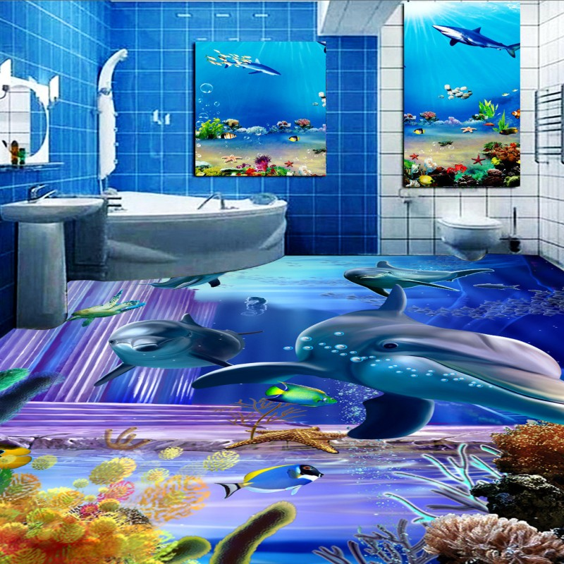 Free Shipping Dazzling dolphin underwater kitchen bedroom 3D floor thickened non-slip bathroom living room lobby flooring mural free shipping floating suspension mountain dolphin 3d outdoor floor painting wear non slip bedroom bathroom flooring mural