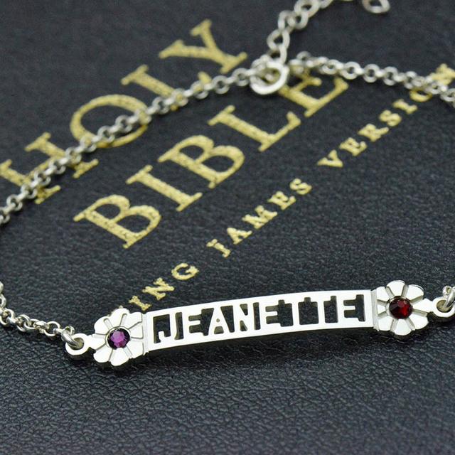 Nome Birthstone Pulseira em Prata Cortar Placa de Identificação personalizado Charm Bracelet Adorável Iniciais Pulseira Melhor Presente Damas de honra