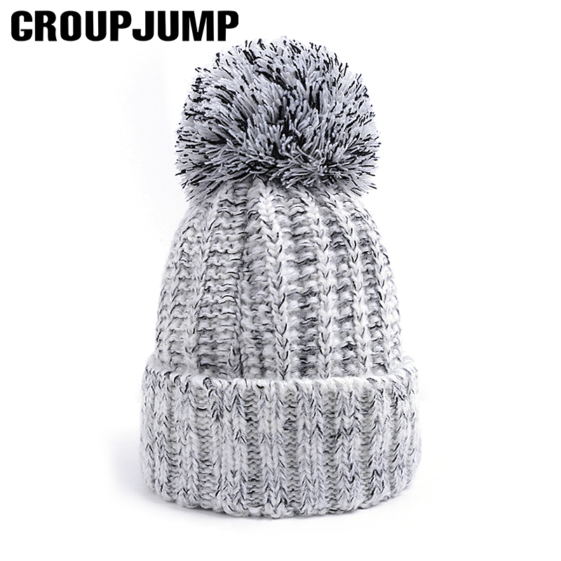 Brand Woman Knitted   Beanies   Pompoms Hat For Women Warm   Skullies     Beanies   Knitted Hat Female Warm Hat Brand   Beanie   Cap For Women