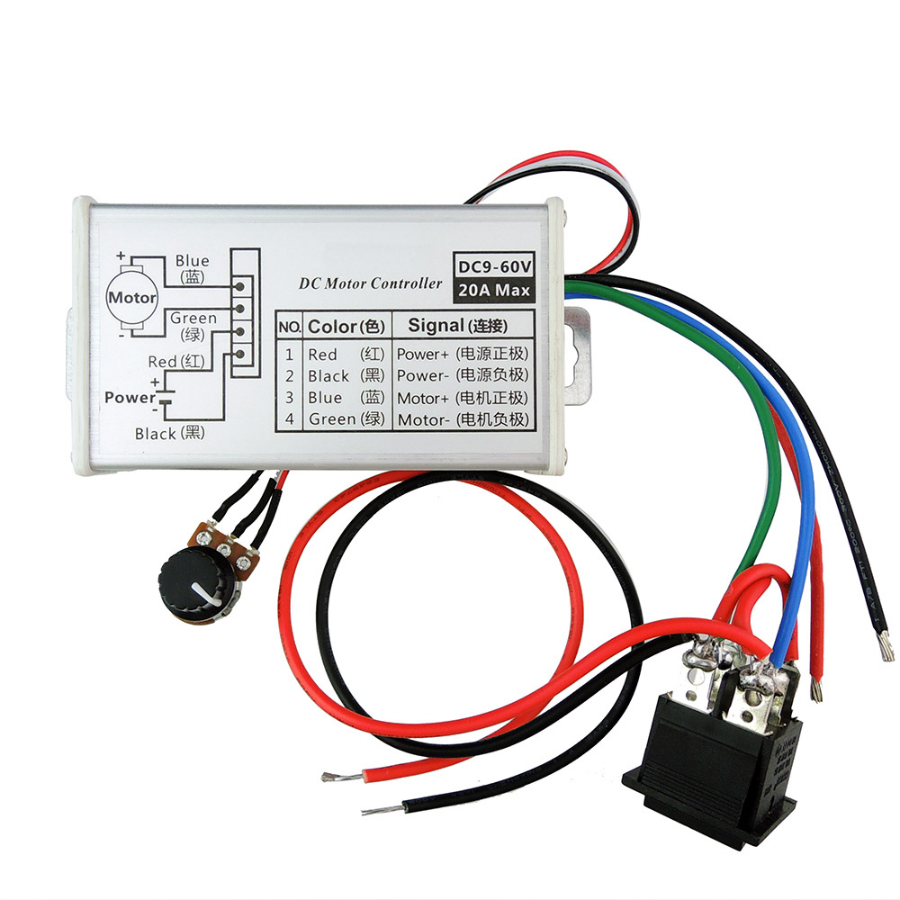 medium resolution of free shipping pwm motor speed controller 12v24v36v48v 20a dc motor variable speed reverse switch in motor controller from home improvement on aliexpress com