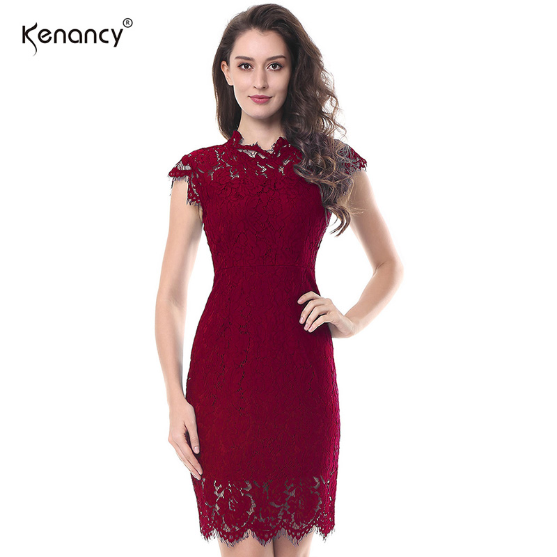 cb0a8b534a Aliexpress.com : Buy Kenancy Women 1950s Vintage Dress Lapel V Neck ...