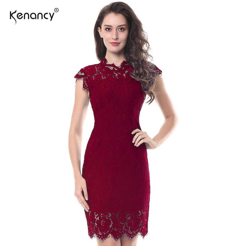 a0b1f76fad4a95d Kenancy 2XL вечерние кружевное платье Для женщин элегантные без рукавов  цветочный кружевной Bodycon Карандаш офисное красный