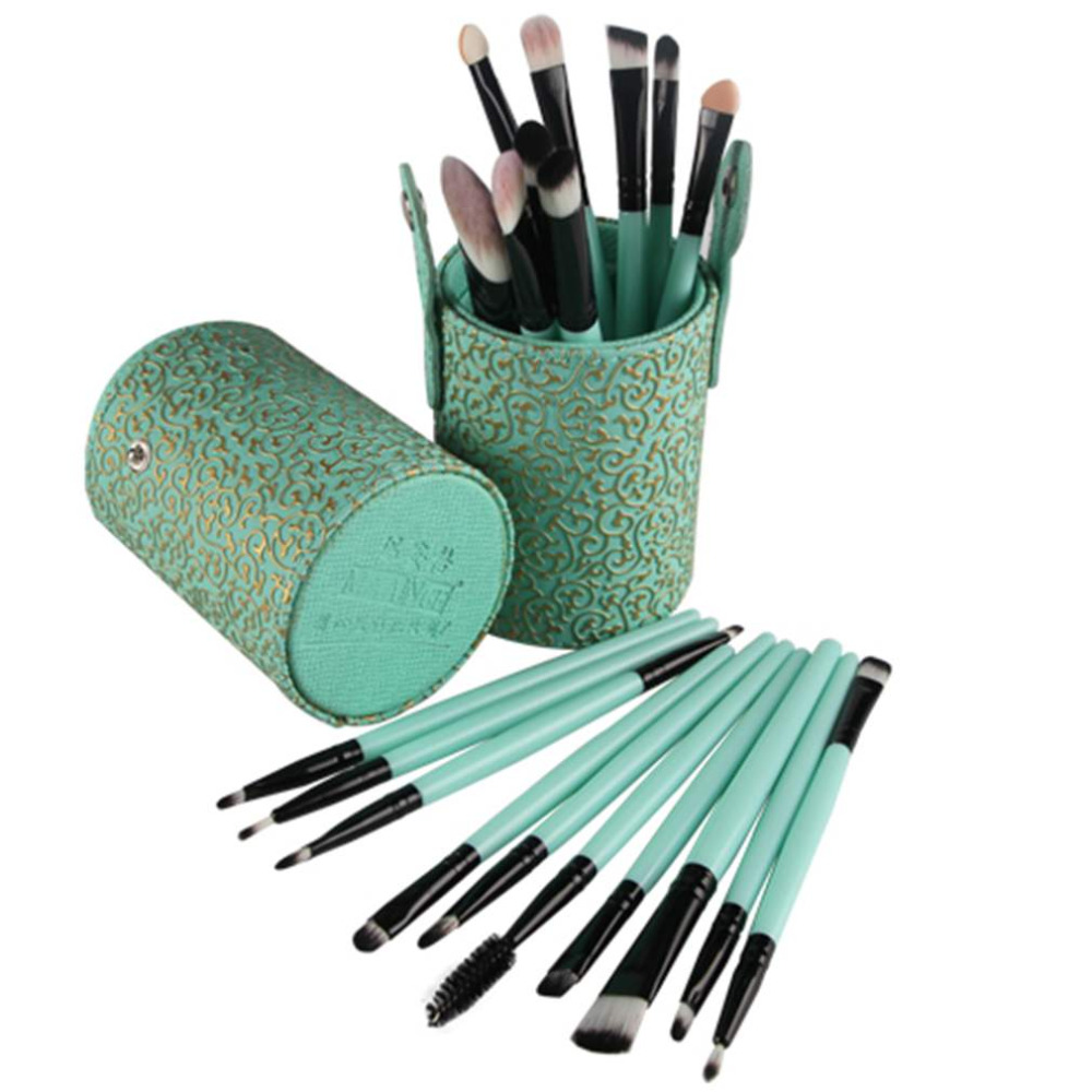 Make Up Professional 20pcs Makeup Cosmetic Brushes Set With Cylinder Plastic & Leather Cup Holder Makeup Tool Hot New new arrival hot professional 29pcs animal hair cosmetic makeup brushes tool set with black leather cosmetic case2