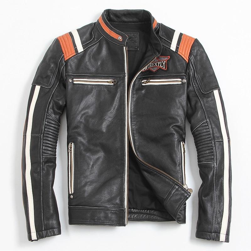 HTB1jkojaSfD8KJjSszhq6zIJFXa7 2019 Vintage Black Men Leather Motorcyclist Jacket Skull Embroidery Plus Size 3XL Genuine Cowhide Short Biker Coat FREE SHIPPING