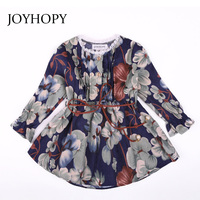JOYHOPY Girls Dress 2018 Spring Autumn Kids Clothes Long Sleeve O Neck Flower Print Design For