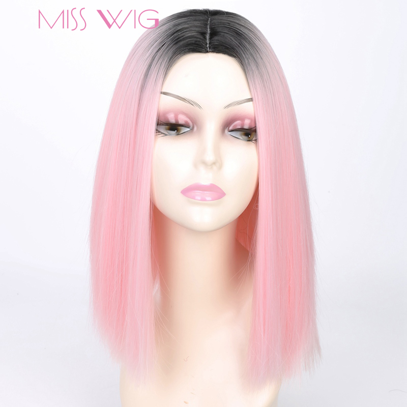MISS WIG Short Straight Ombre Pink Heat Resistant Straight Bob Wig For Women Black Ombre Color Synthetic Hair