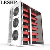LESHP 6/8 GPU Vertical Type Graphics Server Chassis MicroATX/ITX/ATX 4U Mining Machine Chassis With Dual Power Supply Design