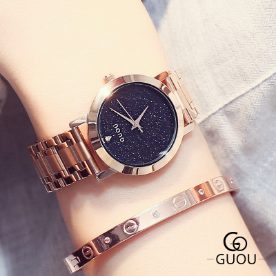 GUOU Top Brand Rose gold Luxury Women Dress Watch Rhinestone Crystal Watches stainless steel Men Women Quartz WristWatch Relogio все цены