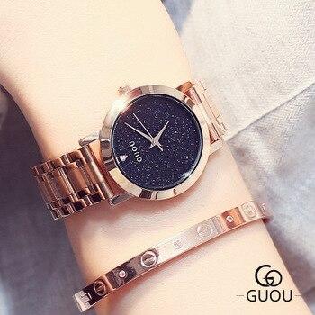 GUOU Top Brand Rose gold Luxury Women Dress Watch Rhinestone Crystal Watches stainless steel Men Women Quartz WristWatch Relogio