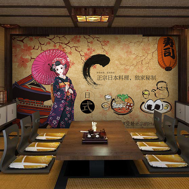 цены  Custom photo wallpaper Vintage Japanese Sushi ladies mural Hot pot shop Hand-Pulled Noodle screen wallpaper mural