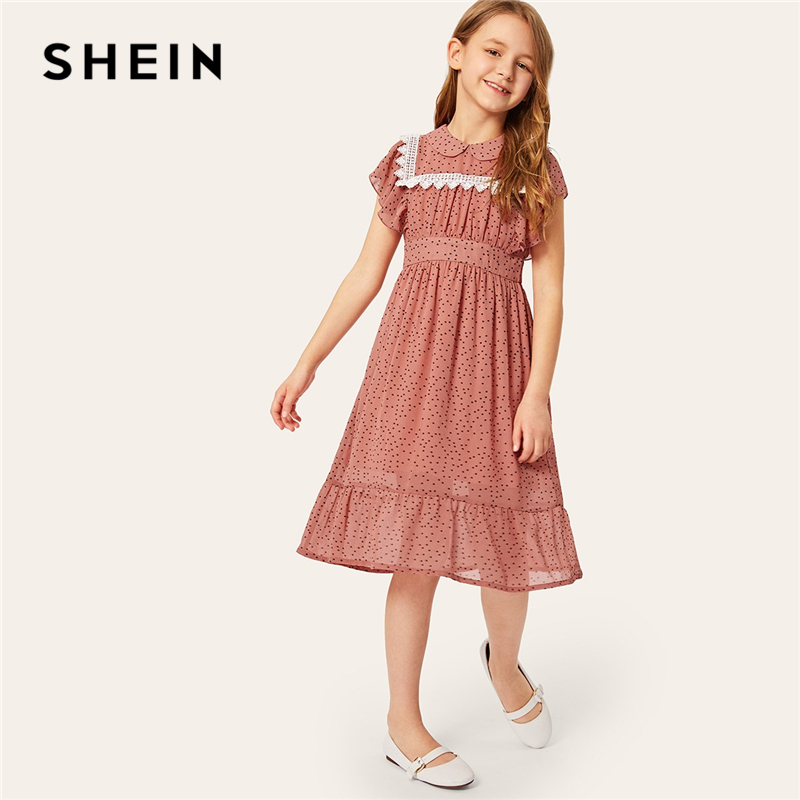 SHEIN Kiddie Contrast Lace Ruffle Cuff Polka Dot Girls Sweet Dress 2019 Summer Batwing Sleeve Cute A Line Flared Midi Dresses недорго, оригинальная цена