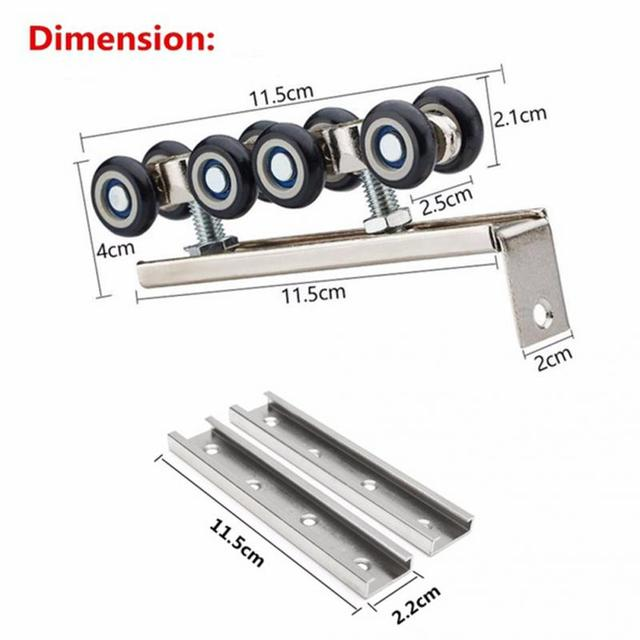 Superbe 1 Pair Sliding Wooden Door Hanging Wheels Closet Hangers Roller Household  Furniture Hardware Heavy Duty Slides