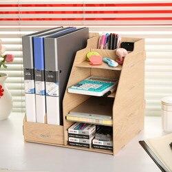 1 juego DIY Color Natural madera estantes para documentos accesorios de escritorio y organizador recipiente para revistas Deli 9842