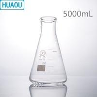 HUAOU 5000mL Erlenmeyer Flask 5L Borosilicate 3.3 Glass Narrow Neck Conical Triangle Flask Laboratory Chemistry Equipment