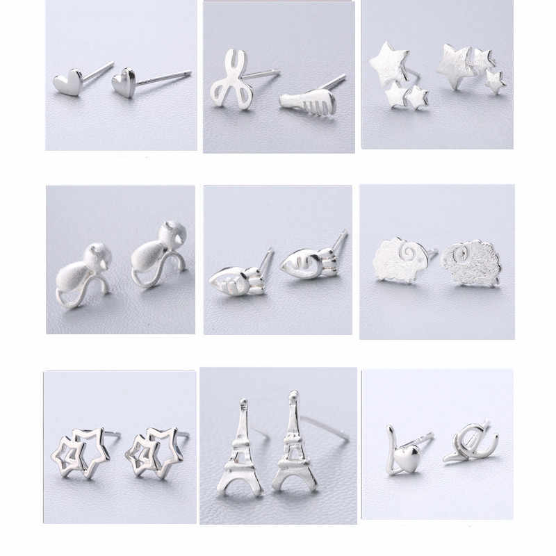 100% 925 Solid Real Sterling Silver Piercing Heart Crown Love Bee Stud Earrings For Women Girls Brincos pendientes Brincos eh979