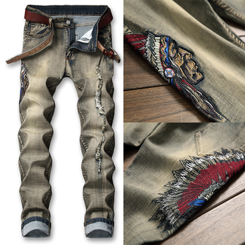 New Mens Jeans Loose Hole Embroidered Patch Pleated Slim Pinball Nostalgic Stitching Indians Embroidery Men Denim Jeans Pants