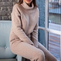 2018 Winter Woolen And Cashmere Knitted Suit Loose Turtleneck Sweater Cashmere Pants Two Piece Set Knit