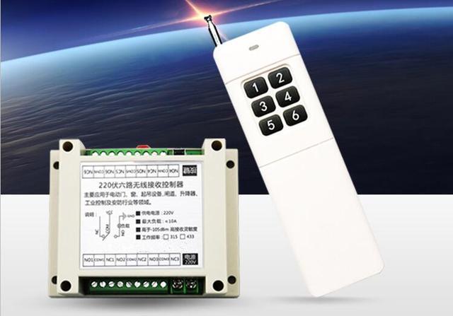 AC220V 6CH 10A RF Wireless Fernbedienung Relaisschalter licht/lampe ...
