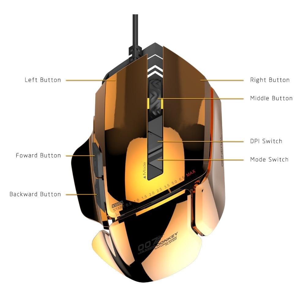 James âne 007 USB filaire optique Laser souris de jeu 8200 DPI réglable 7 boutons avec rétro-éclairage rvb pour PC Mac LOL CS Gamers - 2