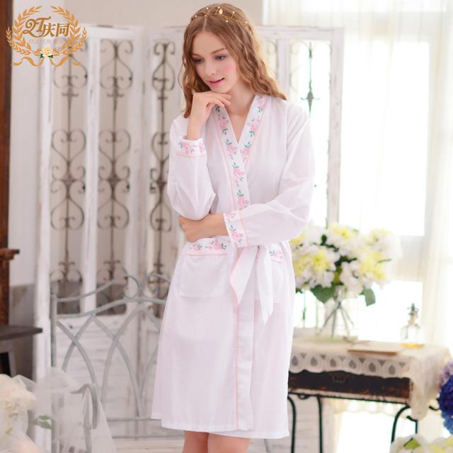 Nueva Llegada del resorte Mujeres Albornoces Bata Breve de Manga Larga 100% Algodón Tejido Salón Femenino Camisón de La Princesa ropa de Dormir 1791