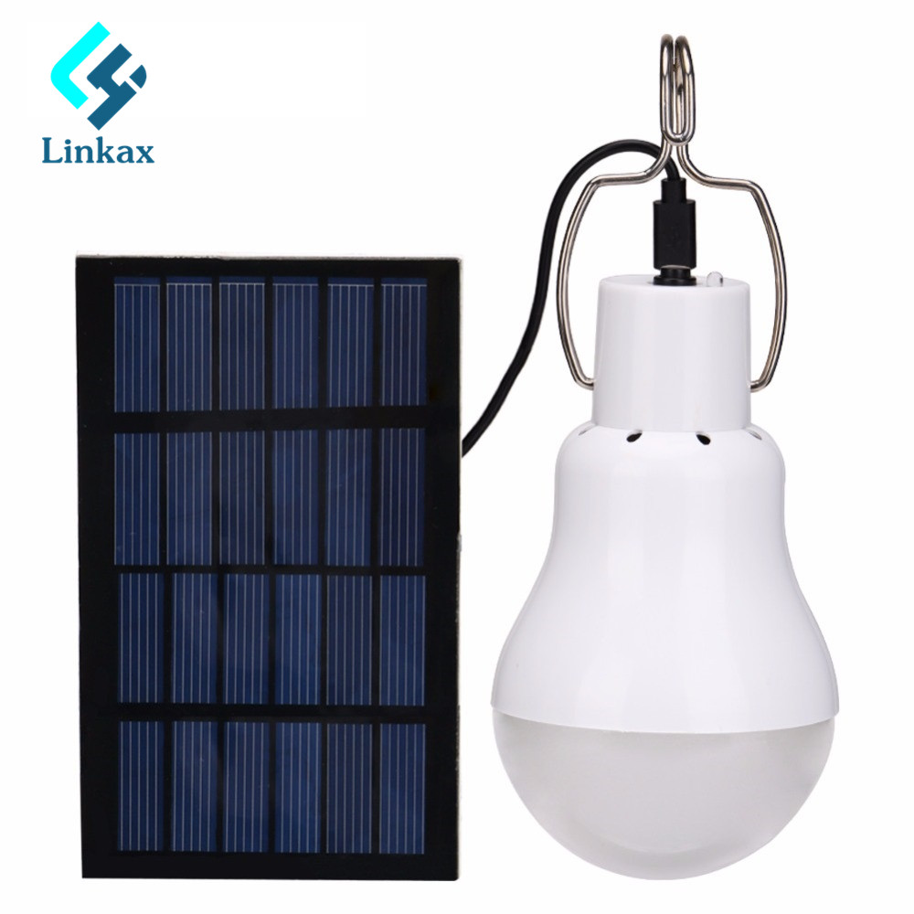 Linkax 15W 130LM Lamp Powered Portable Bulb Led Solar Panel Camp Tent Night Light