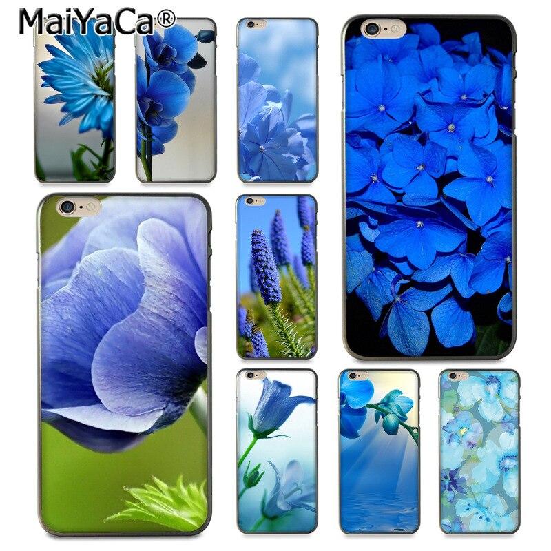 Maiyaca синий цветок Хит продаж дизайн моды кожа тонкий ПК cell чехол для iPhone 8 7 6 6 S Plus x 10 5 5 S SE 5 C Coque В виде ракушки