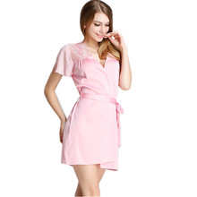 Free Shipping Women's Short Sleeve Sexy Robes Fashion Luxury Satin Silk Lace Nightwear Bathrobes Bridesmaids Wedding Robes Hot(China)