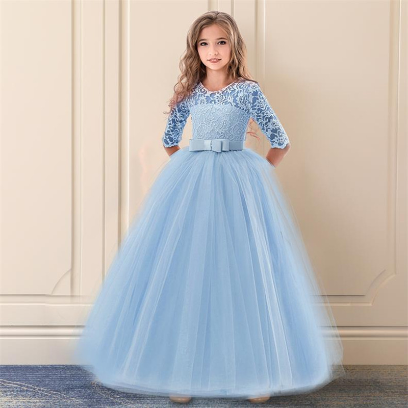 Vintage Flower Girls Dress for Wedding Evening Children Princess Party Pageant Long Gown Kids Dresses for Girls Formal Clothes