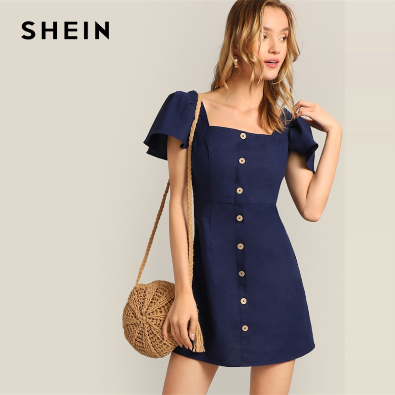 75562907214c SHEIN Navy Single Breasted Flutter Sleeve Plain Short Dress Women 2019  Summer A Line Square Neck