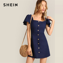 SHEIN Navy Single Breasted Flutter Sleeve Plain Short Dress Women 2019 Summer A Line Square Neck High Waist Solid Dresses(China)