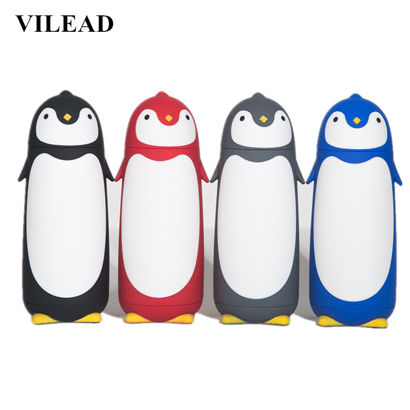 VILEAD Cute Penguin Stainless Steel Thermos Vacuum Flasks Cartoon Portable Thermal Insulated Mug Outdoor Drinking Water Bottle