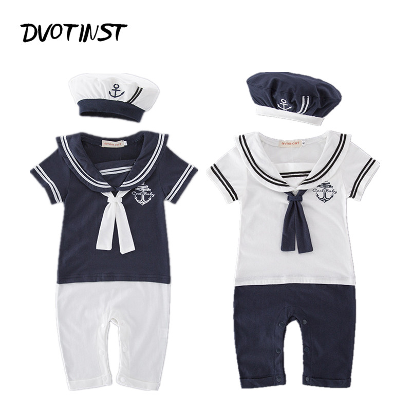Baby Boy Clothes Summer Short Sleeves Sailor Navy Romper+Hat 2pcs Set Playsuit Outfit Infant Jumpsuit Cotton Clothing Costume nyan cat baby boy clothes short sleeves gentleman bow tie vest romper hat 2pcs set outfit jumpsuit rompers party cotton costume