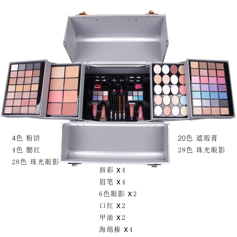 MISS ROSE vestito sacchetto cosmetico luccichio matte eyeshadow palette di trucco scatola di trucco Professionale con la spazzola lipgloss rossetto fard - 2