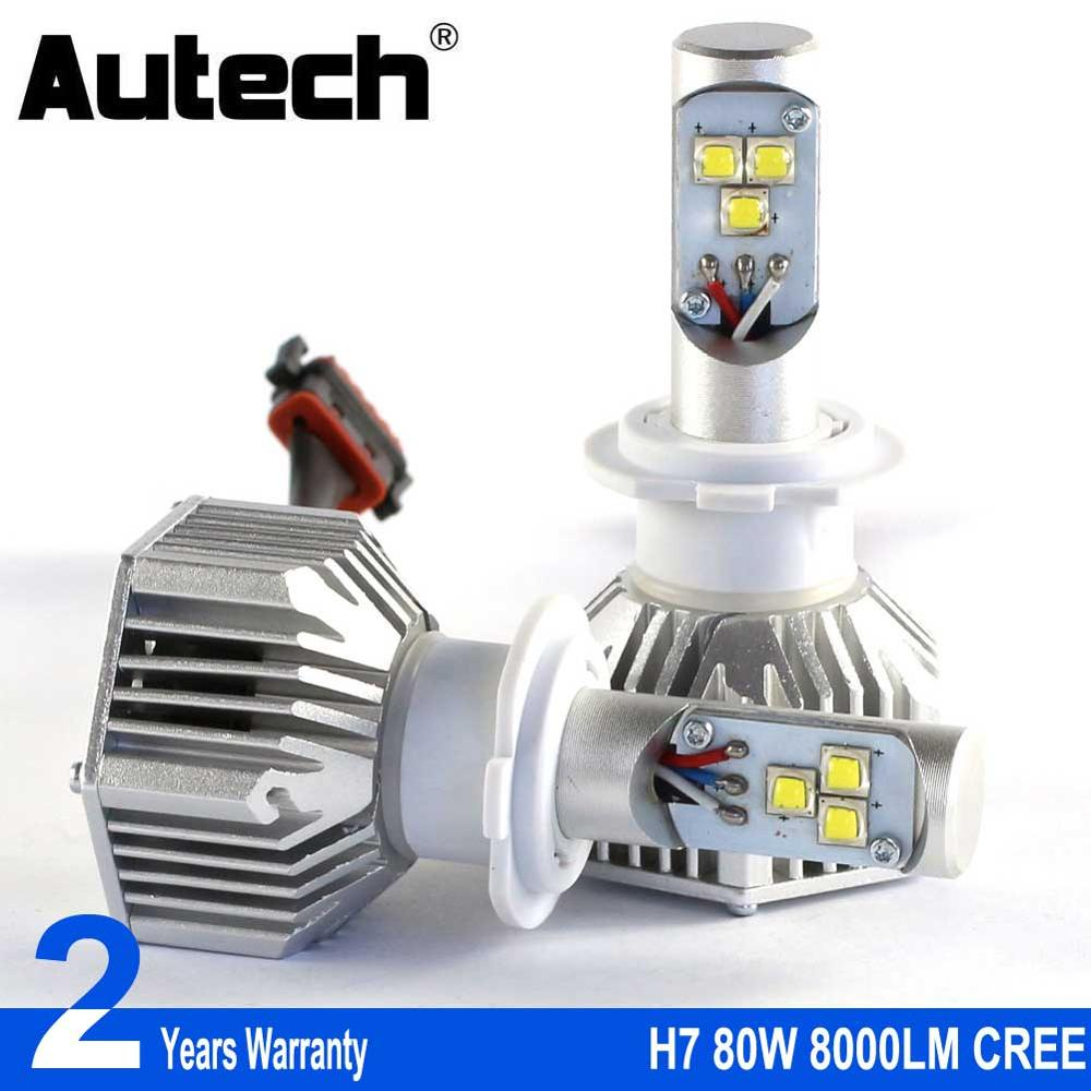 Autech H7 LED Headlights bulbs Car Headlamp Bulbs Head Light 80W 8000LM 12V Fog light Convert Kit with CREE Chips All in one