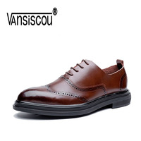 VANSISCOU Men Casual Dress Shoes Autumn Genuine Leather Shoes Men Soft Leather Classic Male Sneakers Fashion Casual Work Footwea