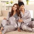 Pijamas de Los Amantes del Sueño de las mujeres de Las Señoras de Seda Pijamas Hombres Pijamas De Satén Mujeres Salón Pareja Pijama Más Tamaño 3XL