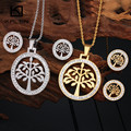 Kalen New Stainless Steel Silver Color&Italian Gold Plated Tree Of Life Pendant Necklace and Earrings Jewelry Sets For Women