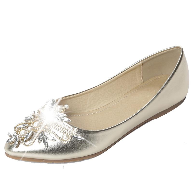 sweet pointed toe single shoes female flat bottom shallow mouth diamond wedding flats gold silver big