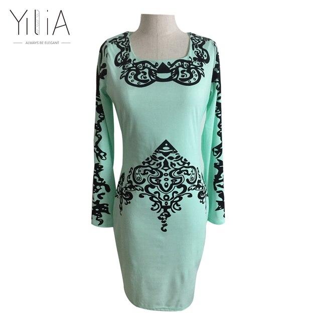 yilia 2016 Plaid Autumn Women Dress Elegant Totems Print Mint Green Knee Length Long Sleeve Pencil Midi Bodycon Dresses Vestidos