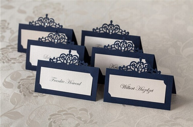 24pcs Blue Red Laser Cut Place Cards Wedding Name Cards Paper Party