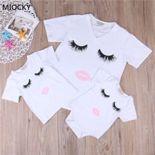 2019 Mom and Daughter Matching Clothes Women Mother&Kids Baby Girl Summer Short Sleeve Eyelash Bodysuit T Shirts Clothes E051