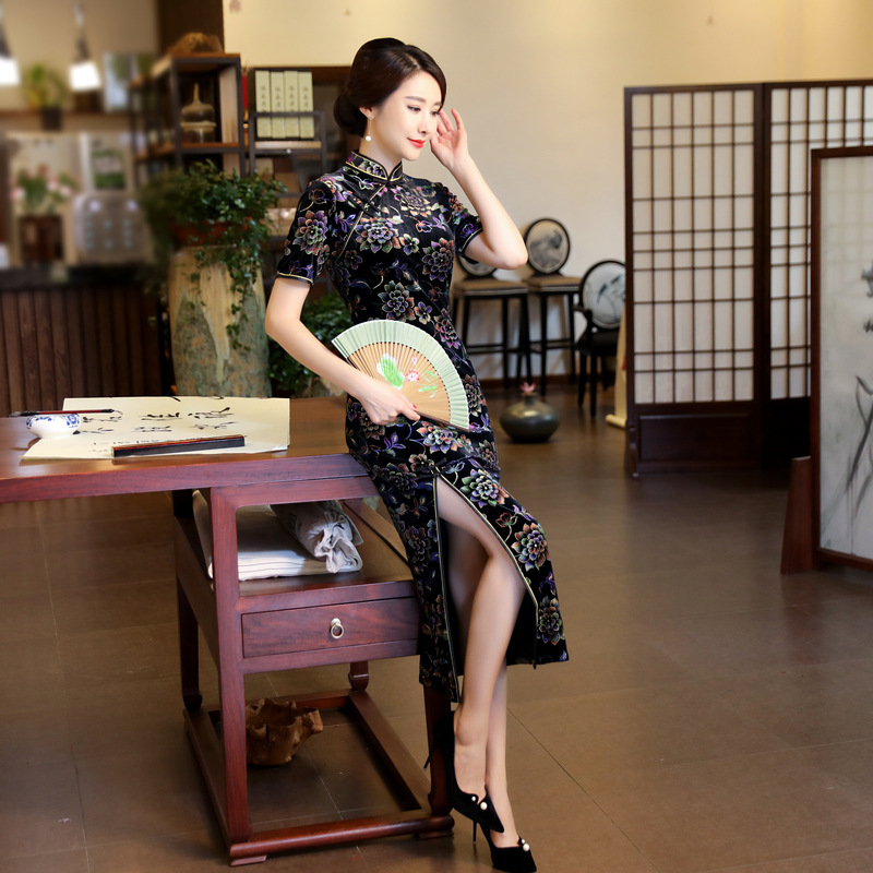 Fashion Summer Womens Long Cheongsam New Arrival Chinese Style Velour Dress Elegant Qipao Vestidos Size S M L XL XXL XXXL 1Z5871 s xl 2016 new summer