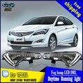 Estilo del coche Para Hyundai VERNA 2014 2015 LED DRL led diurna guía de luces de circulación de Alta luminosidad LED DRL Con señal trun amarillo
