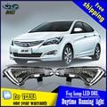 Estilo do carro Para Hyundai VERNA 2014 2015 LED DRL led daytime execução luzes guia de Alto brilho LED DRL Com sinal trun amarelo