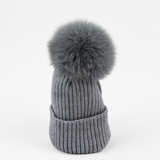 e6b6c1375 new arrive casual girls warm fox fur hairball beanies hat fashion  Detachable children baic cap cotton knitted kids winter -in Hats & Caps  from Mother ...