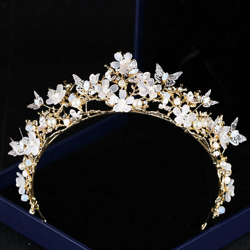 Newest Baroque Crown Hairband Butterfly Flower Tiaras Bride Hair Accessories Crown Flowers Pearl Headdress Headbands