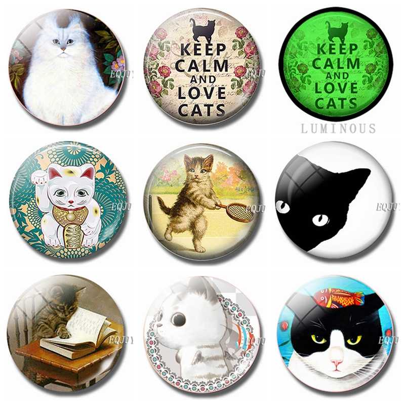 30 мм держать моллюск и Любовь Кошки холодильник магнитный сувенир милый котенок стекло декоративный холодильник съемные магнитные наклейки декор