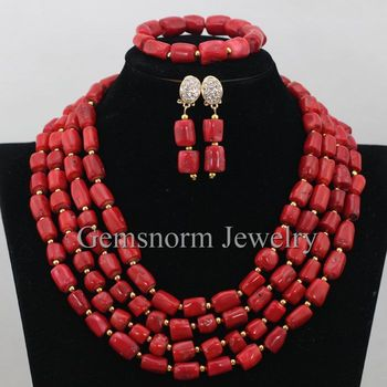 Nigerian Wedding Red Coral Beads Jewelry Set Red African Jewelry Sets 2017 Brides Gift Coral Necklace Set Free Shipping CNR371
