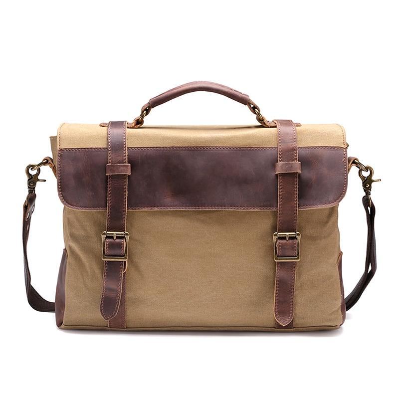 ФОТО Canvas Hasp Zipper Style Men's Genuine Leather Casual Messenger Shoulder Bag Tablet Satchel Cross Body Book Briefcase 3 Colors